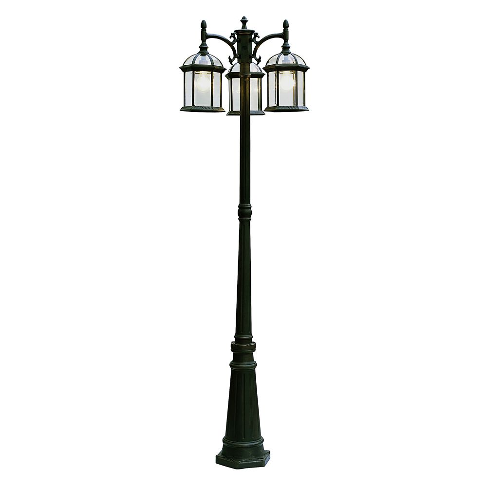 Hampton bay black glass with framed 3 light lamp post the home depot canada for Exterior can lights home depot
