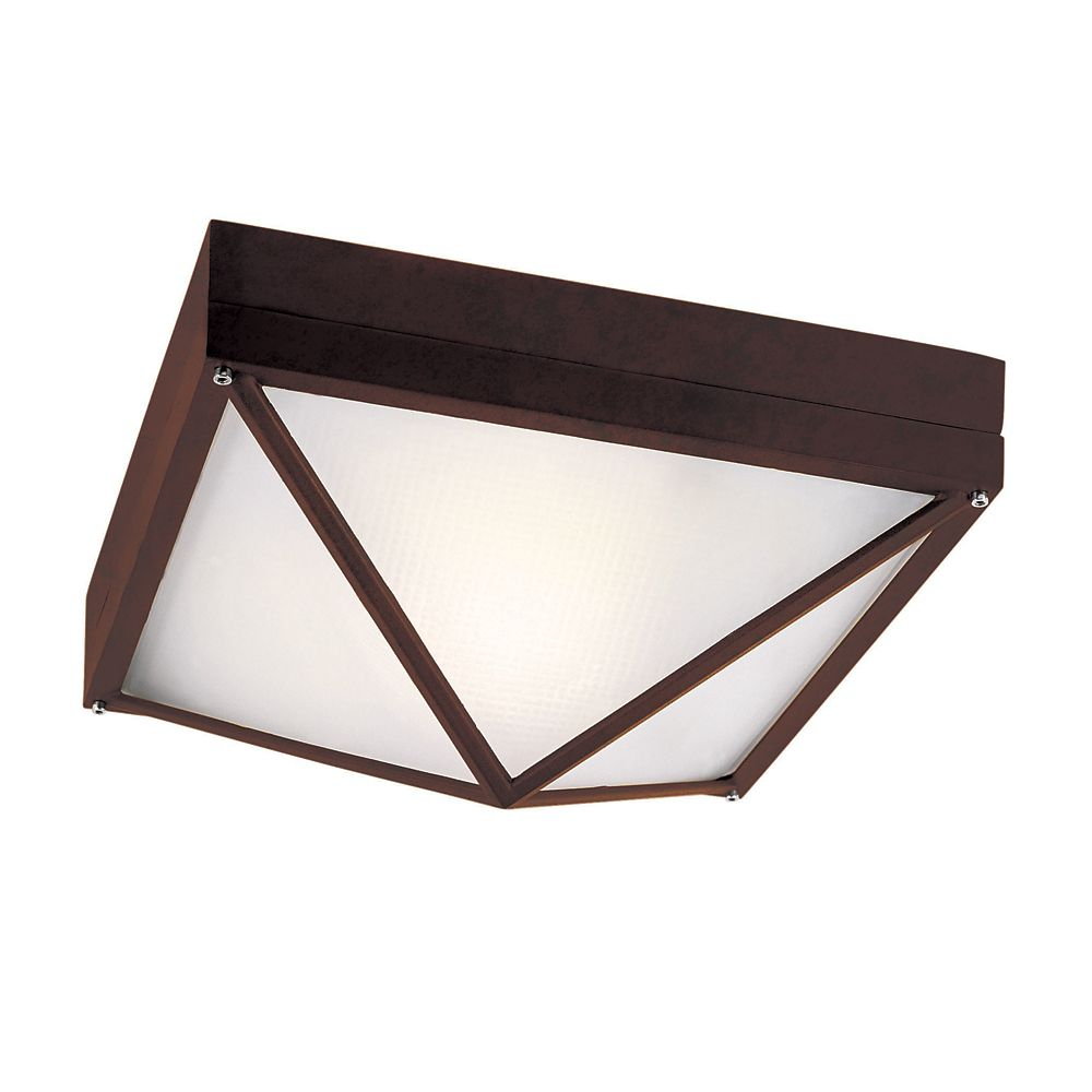 Rust Square 9 inch Outdoor Ceiling Light