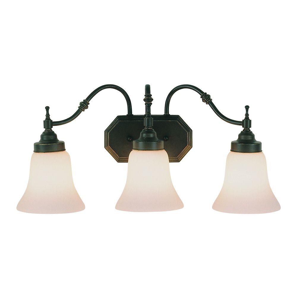 Luminaire de lavabo à 3 lumières, bronze biseauté
