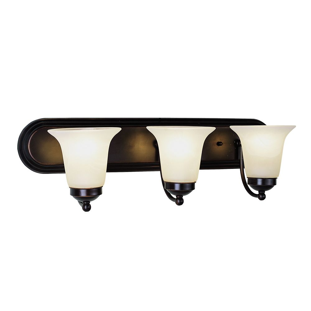 Oiled Bronze with Marble Glass 3 Light Vanity