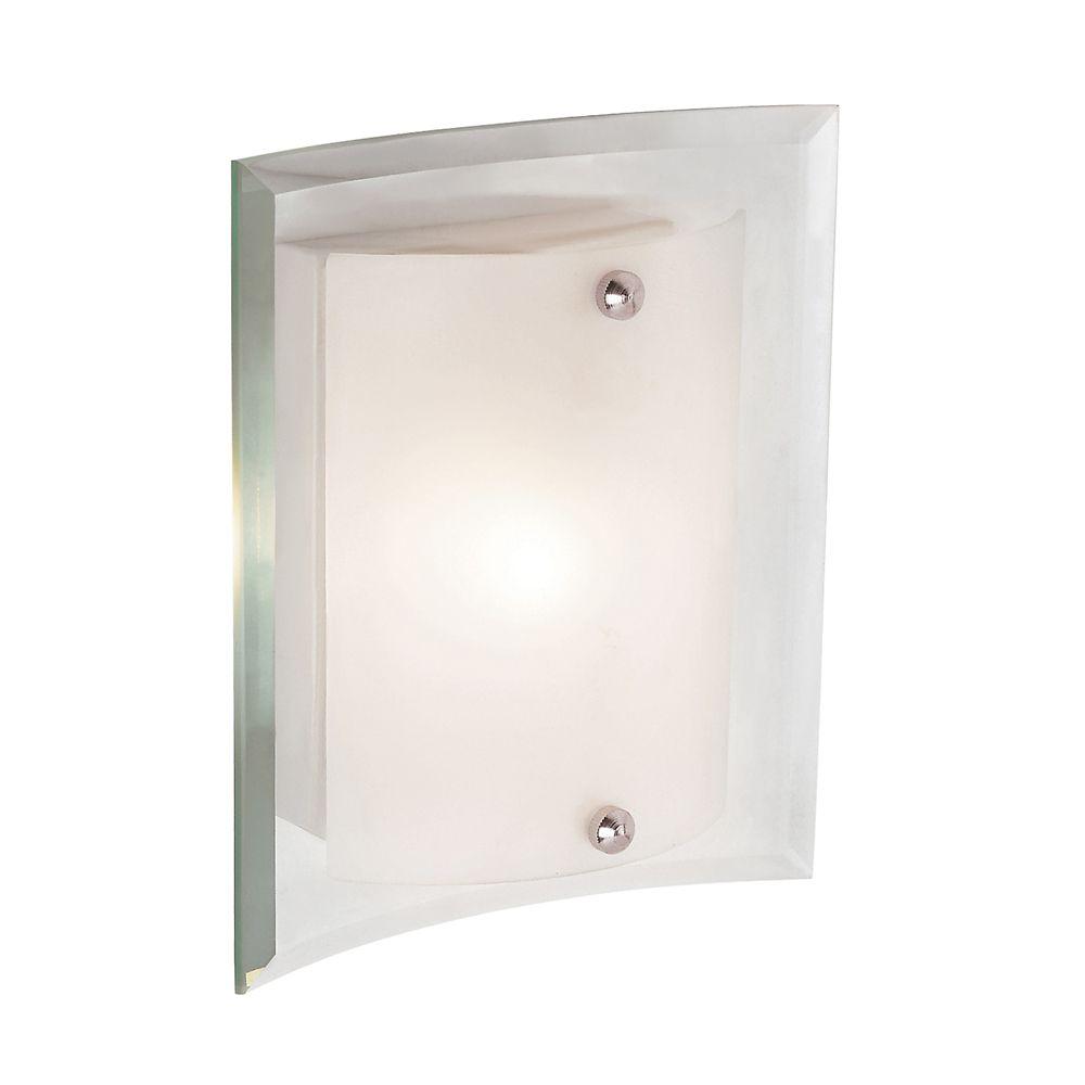 Applique à plaque murale transparente et abat-jour en verre givré, 20,32 cm (8 po)