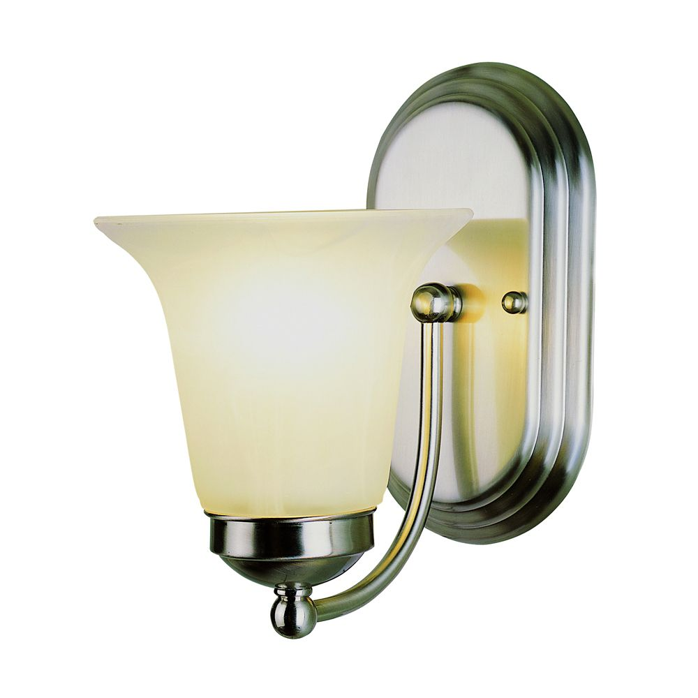 Nickel with Marble Glass Sconce
