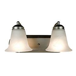 Bel Air Lighting Nickel with Marble Glass 2 Light Vanity