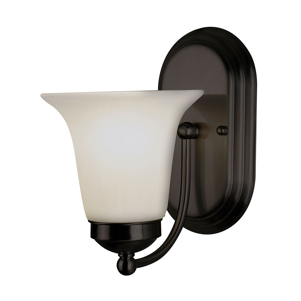 Bel Air Lighting Oiled Bronze with Marble Glass Sconce