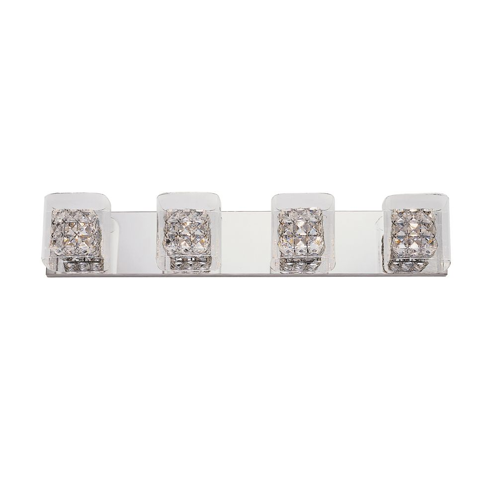 Bel Air Lighting Crystal Blocks and Clear Glass 4 Light Wall Rail