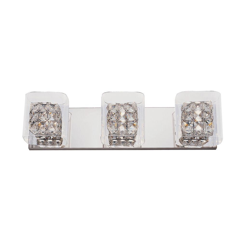 Crystal Blocks and Clear Glass 3 Light Wall Rail