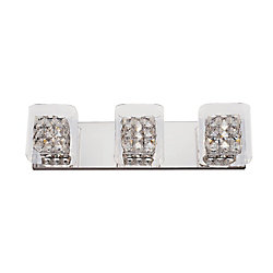 Bel Air Lighting Crystal Blocks and Clear Glass 3 Light Wall Rail
