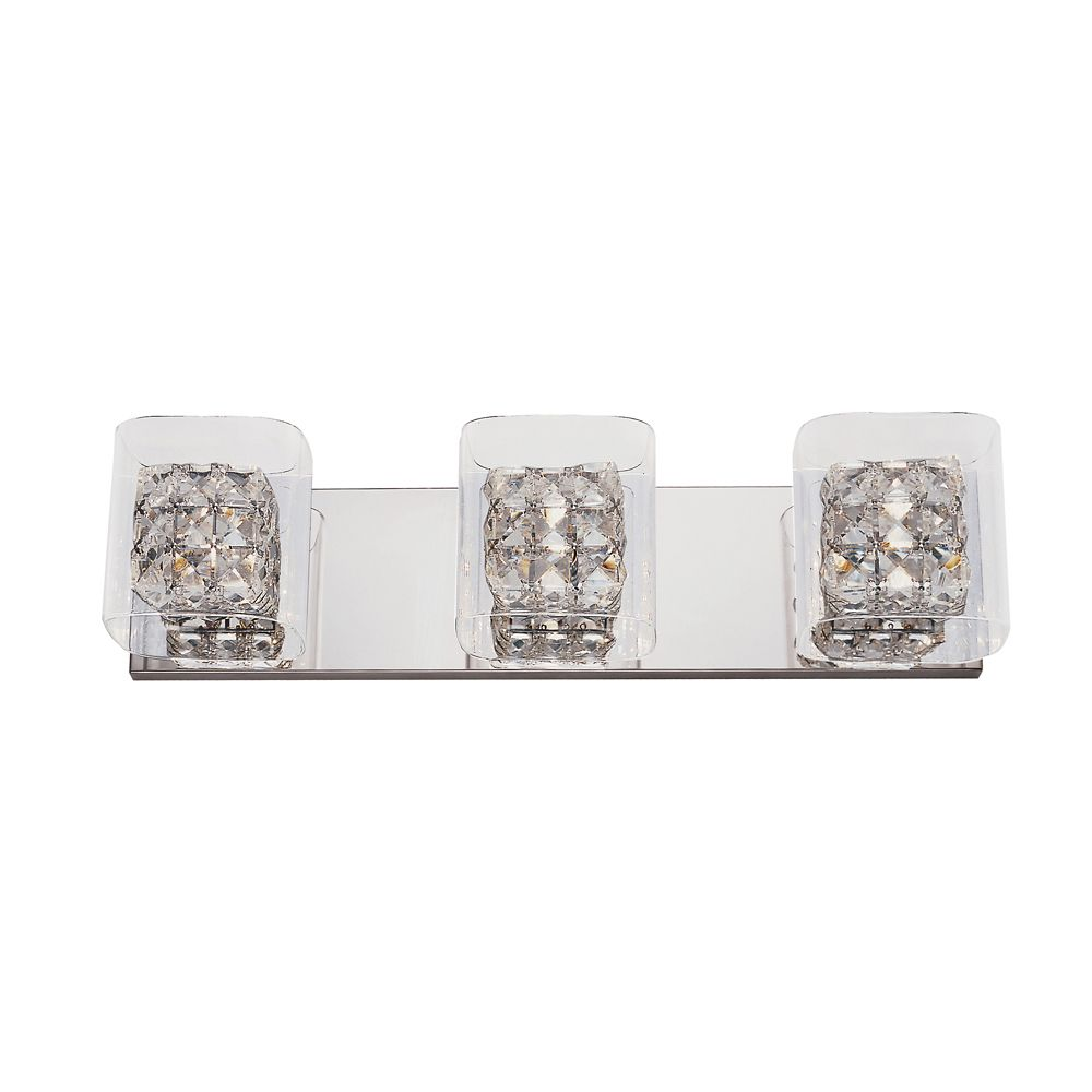 Bel Air Lighting Crystal Blocks and Clear Glass 3 Light Wall Rail