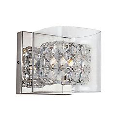 Bel Air Lighting Crystal Blocks and Clear Glass Wall Sconce