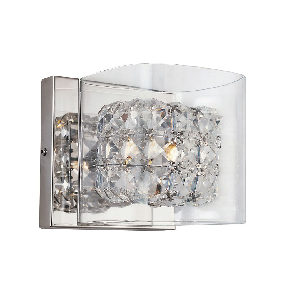 Crystal Blocks and Clear Glass Wall Sconce