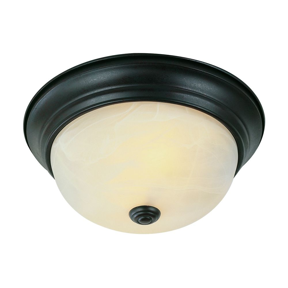 Bronze and Marbled 11 inch Flush Mount