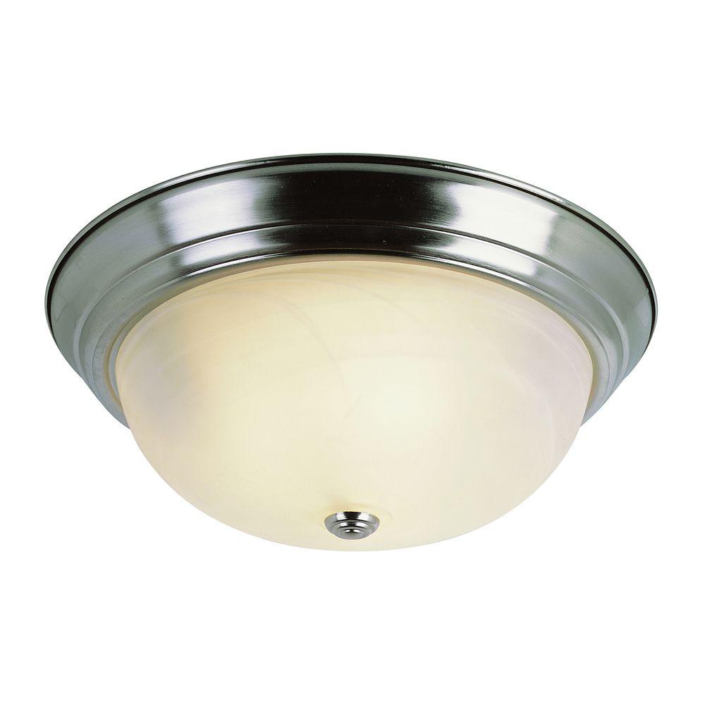 Luminaire affleurant, nickel et marbré, 27,94 cm (11 po)