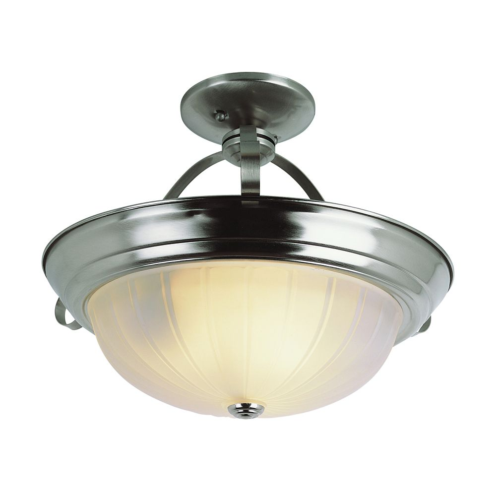 Bel Air Lighting Nickel Brim 13 inch Kitchen Flushmount