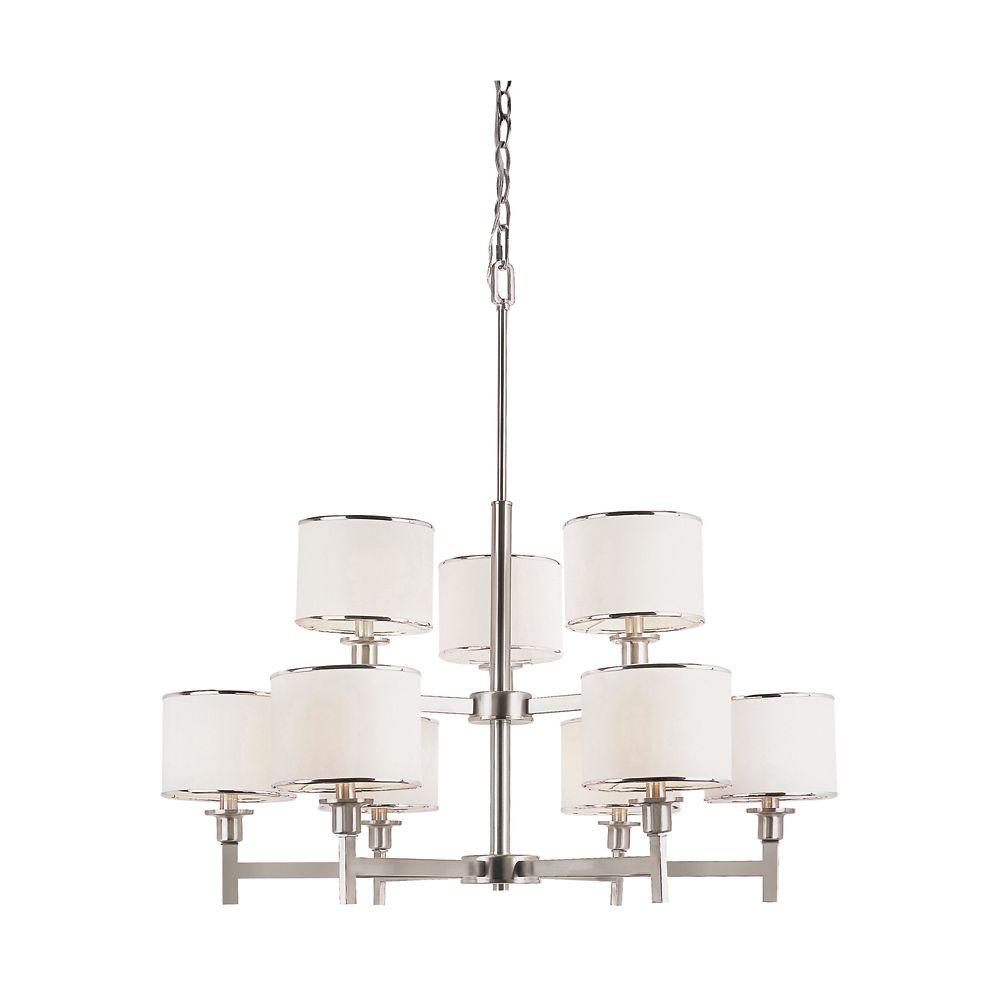 Bel Air Lighting Nickel and Linen 2 Tier Chandelier