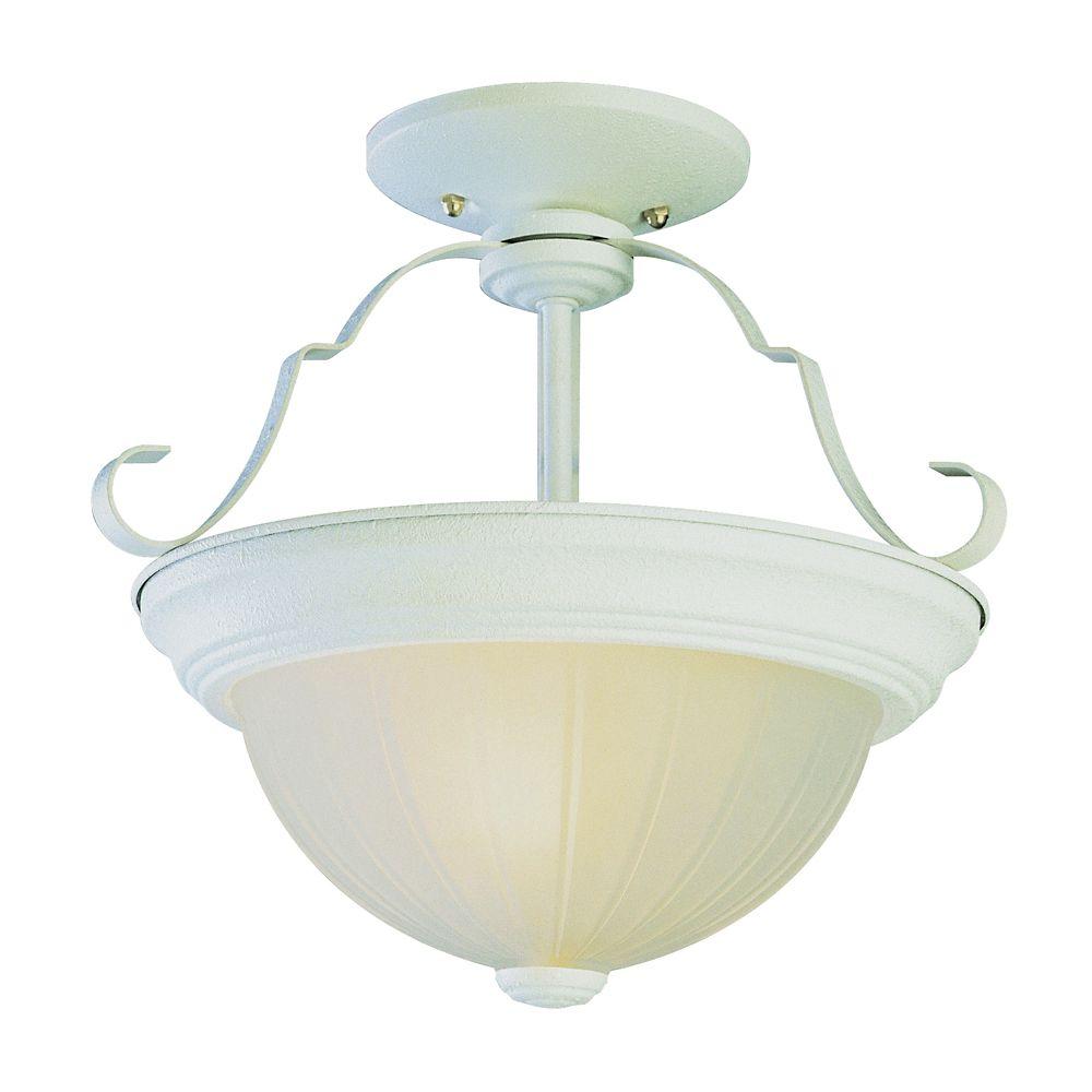 Luminaire de cuisine affleurant, bord blanc, 33,02 cm (13 po)