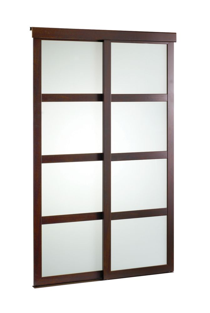 60 Inch Espresso Framed Frosted Sliding Door