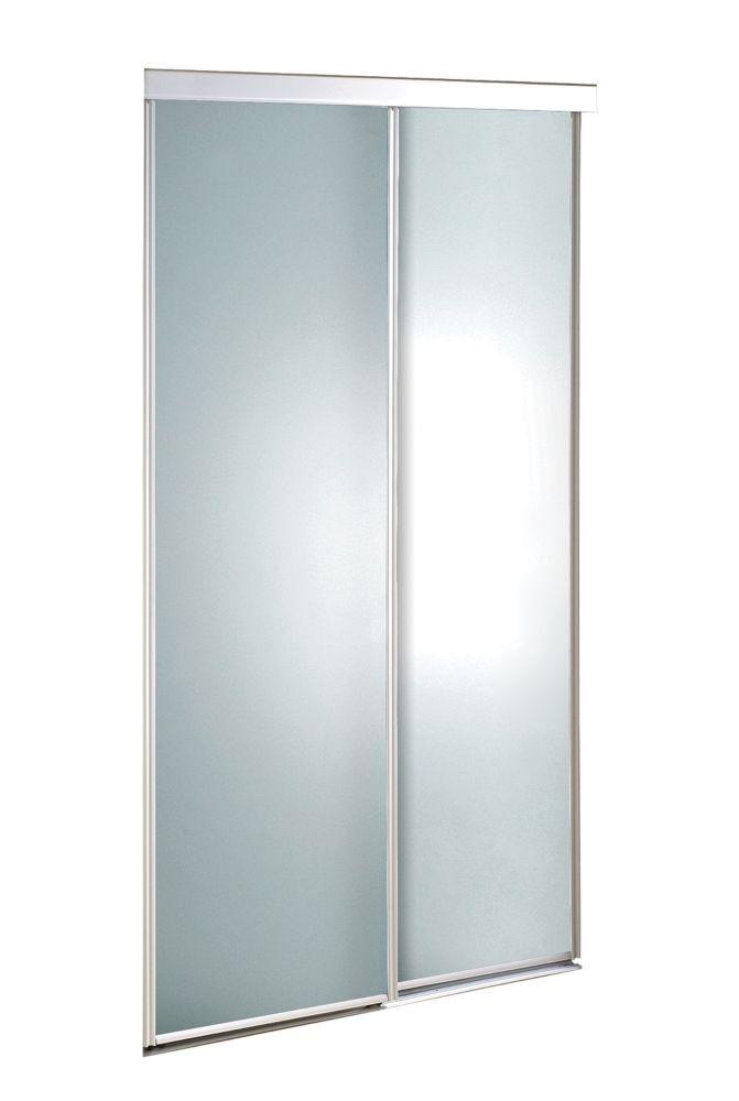 Porte verre givré 60 pouces encadrement de métal blanc, coulissante