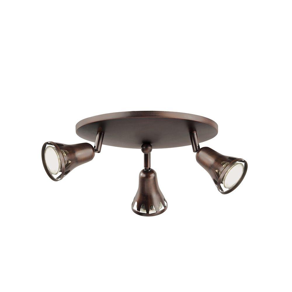 Plafonnier à 3 projecteurs, bronze