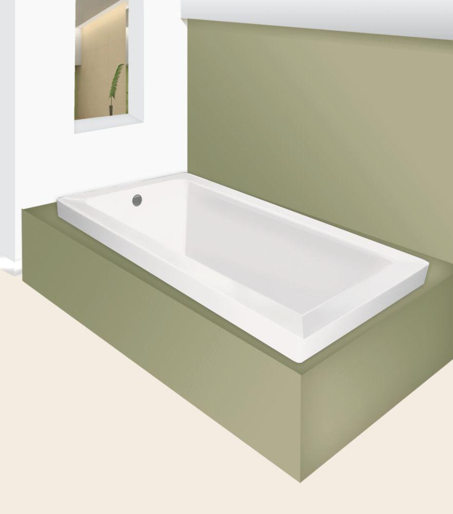 Cubaso 5 Feet 6-Inch Drop-in Soaker Bathtub in White