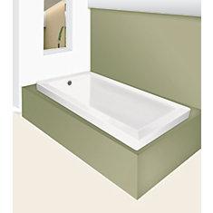 Cubaso 5 ft. Drop-In Soaker Bathtub in White