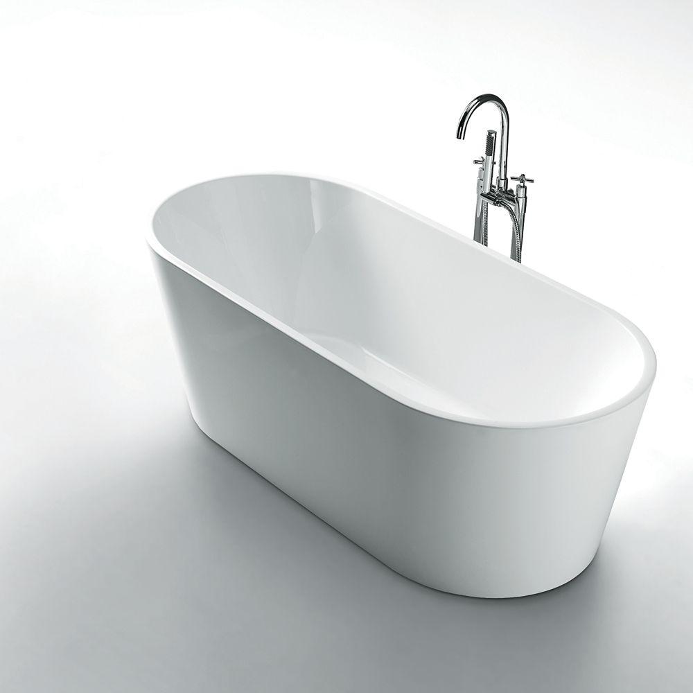 Kayden 67 inch Acrylic Oval Freestanding Soaker Bathtub in White