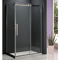 Riga II 8mm Clear Glass 36 inch x 48 inch Sliding Shower Door with Return Panel
