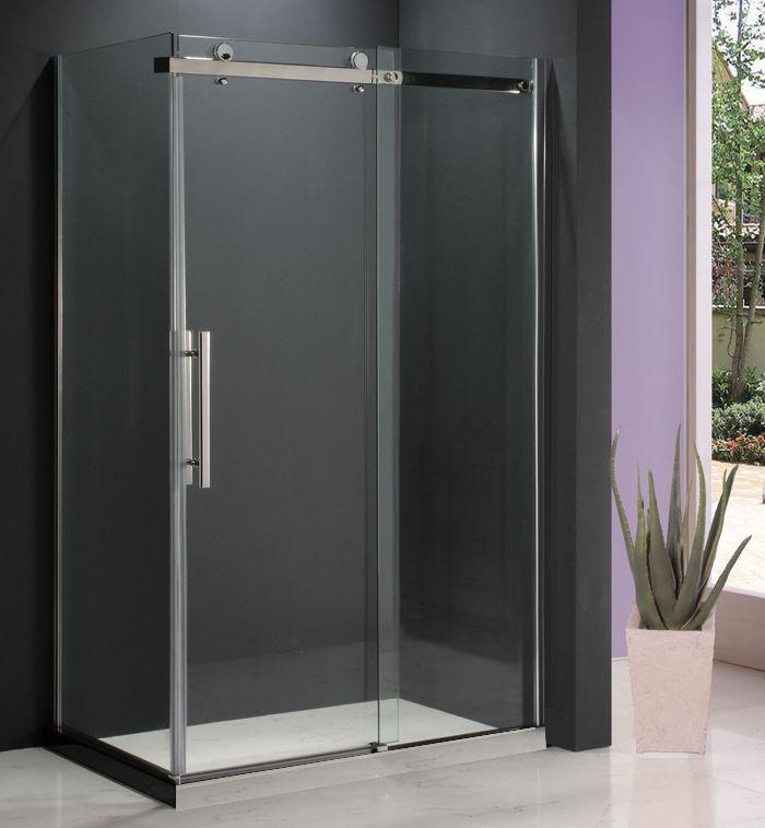 Jade Bath Riga II 8mm Clear Glass 36 inch x 48 inch Sliding Shower Door with Return Panel