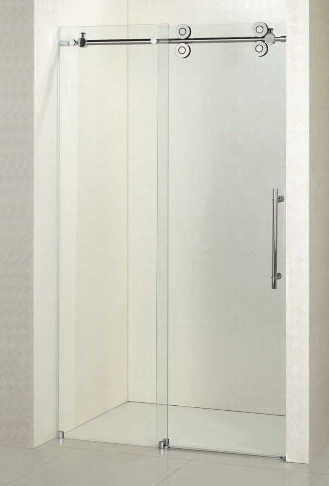 Regal 48 inch 10mm Clear Glass Sliding Shower Door with Base