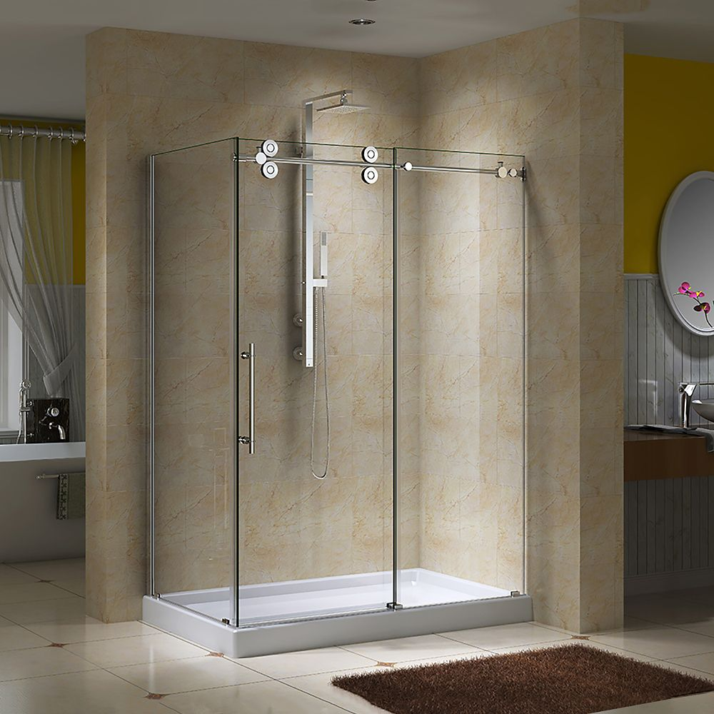 Regal II 10mm Clear Glass 36 inch x 48 inch Sliding Shower Door with Return Panel and Base