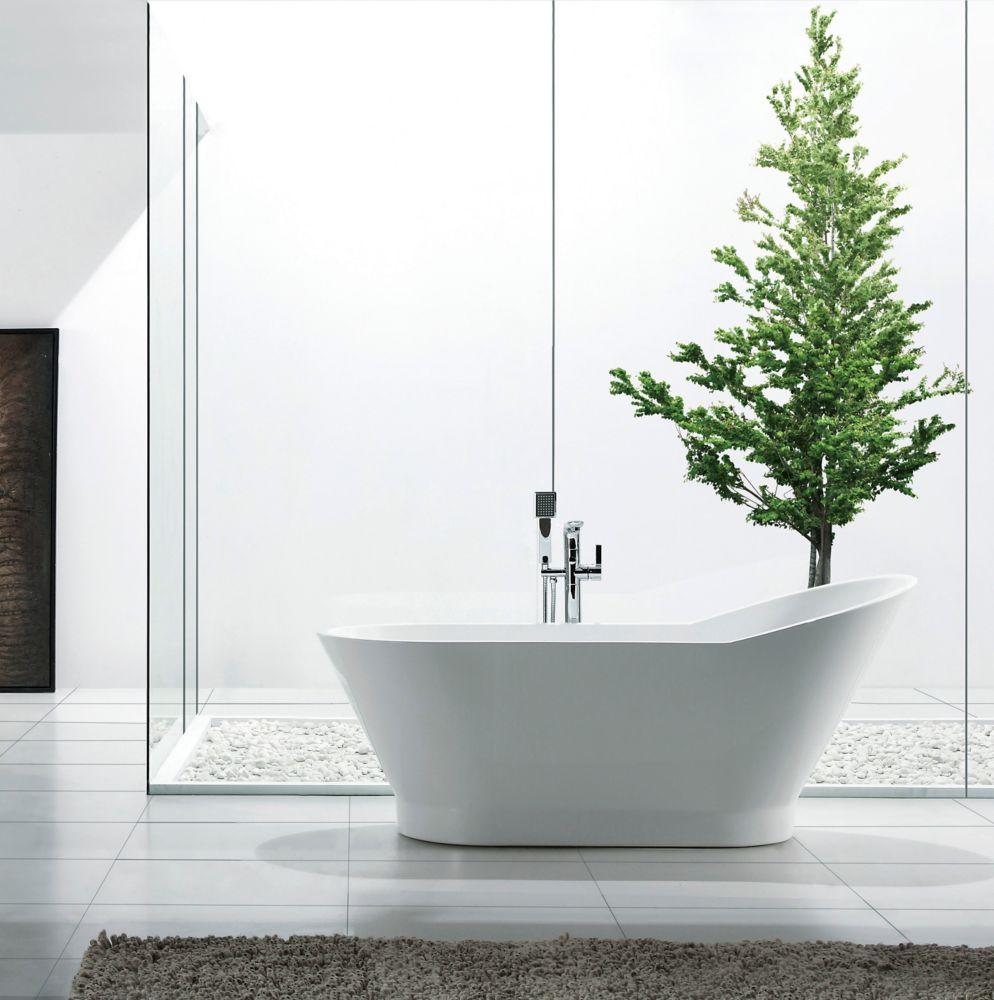 Celine 67 inch Acrylic Oval Freestanding Soaker Bathtub in White