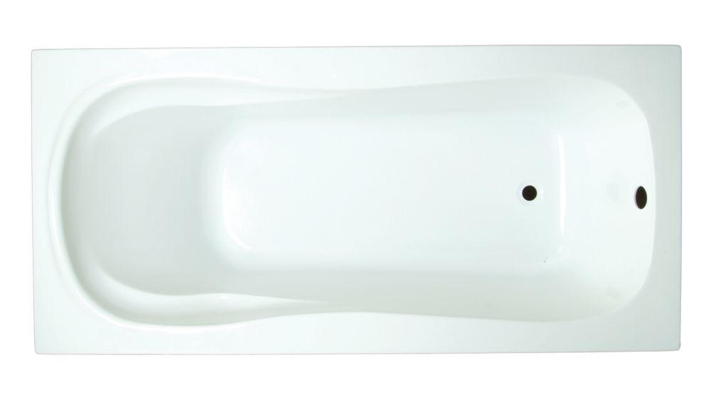 Serena 5 Feet 3-Inch Acrylic Drop-in Non Whirlpool Bathtub in White