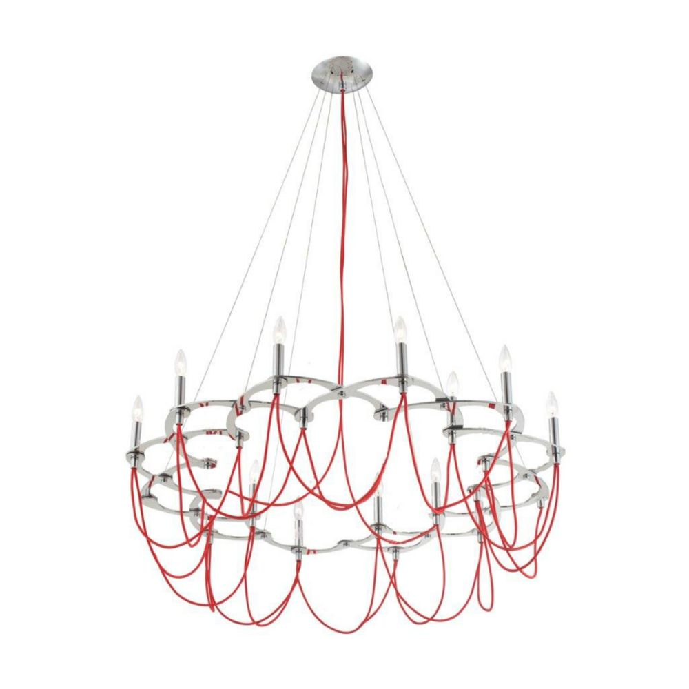 Triumph Collection 12 Light Chrome & Red Chandelier