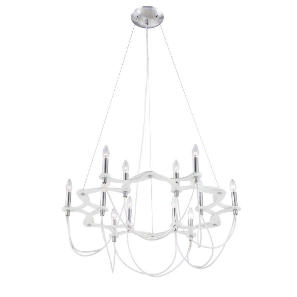 Triumph Collection 12 Light Chrome & White Chandelier