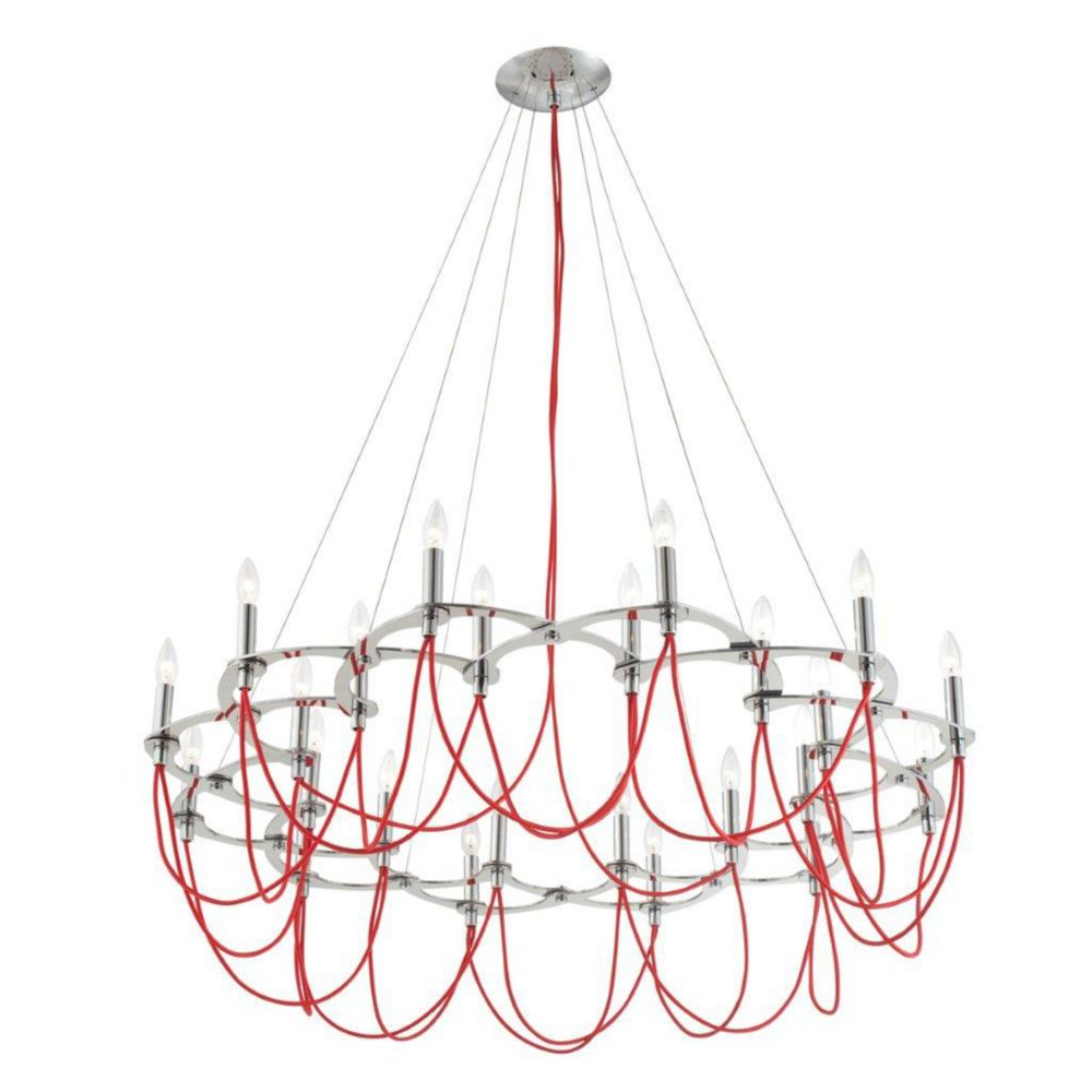 Triumph Collection 24 Light Chrome & Red Chandelier