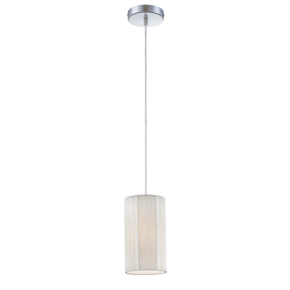 Julian Collection 1 Light Chrome & White Pendant