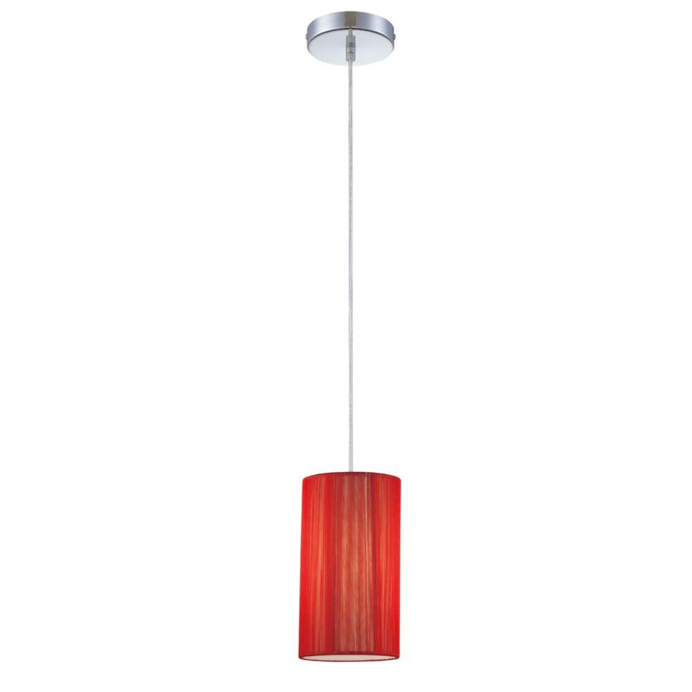 Julian Collection 1 Light Chrome & Red Pendant