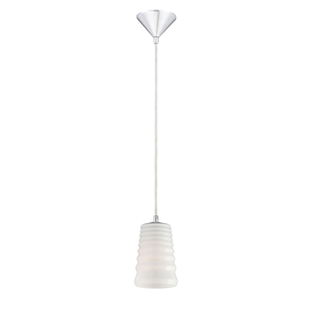 Laso Collection 1 Light Chrome & White Pendant