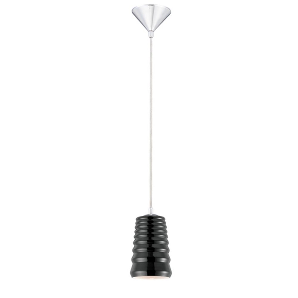 Laso Collection 1 Light Chrome & Black Pendant