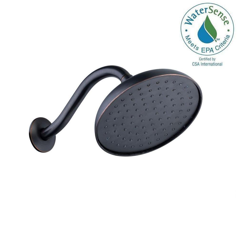 Pomme de douche de 19,05 cm (7,5 po) à moteur fonctionnant à l'eau et bras de douche en bronze mé...