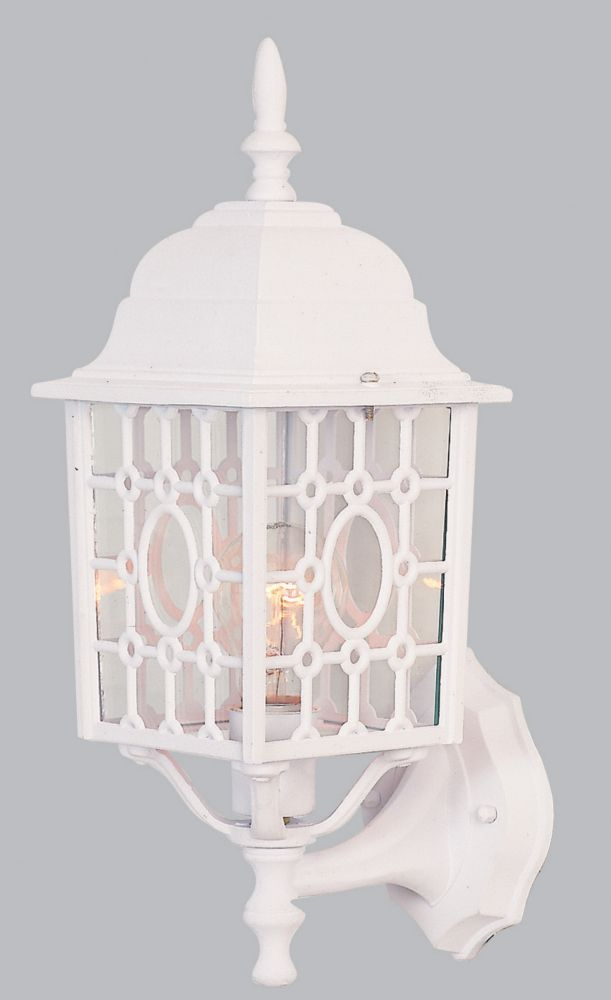 6 Inch Outdoor Wall Lantern, Matte White Finish