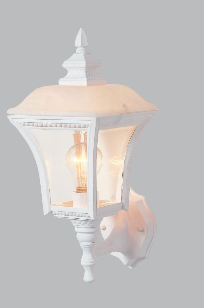 7 Inch Outdoor Wall Lantern, Matte White Finish