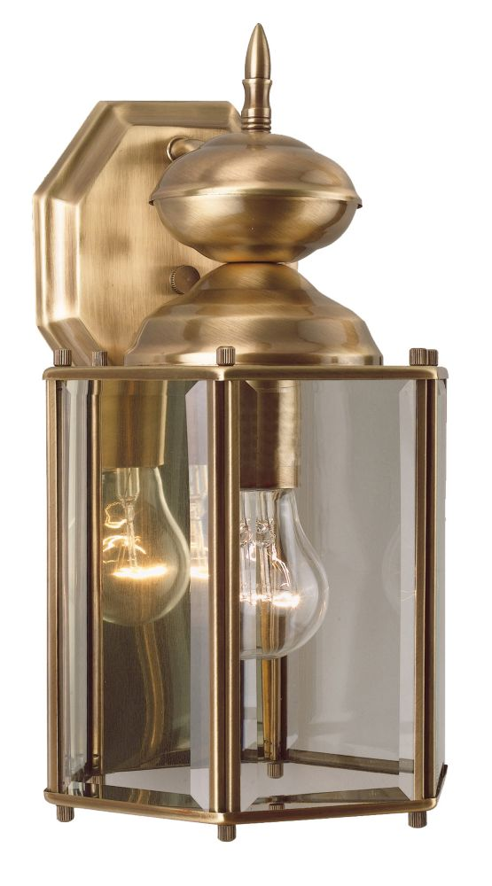 7 Inch Outdoor Wall Lantern, Antique Brass Finish