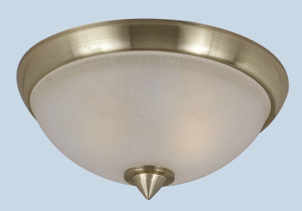 13-3/8 Inch Flush Mount, Antique Brass Finish