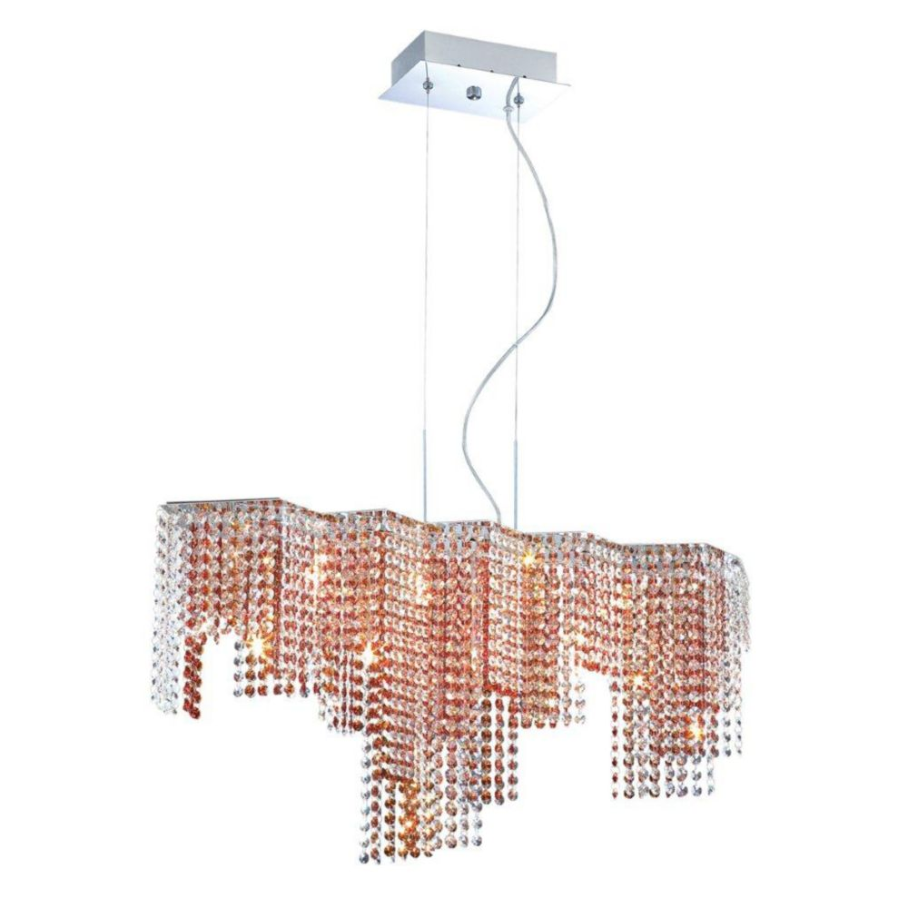 Celestino Collection 9 Light Chrome & Amber Pendant