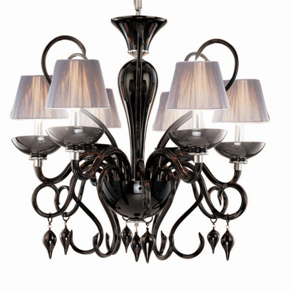 Celesto Collection 6 Light Chrome & Black Chandelier