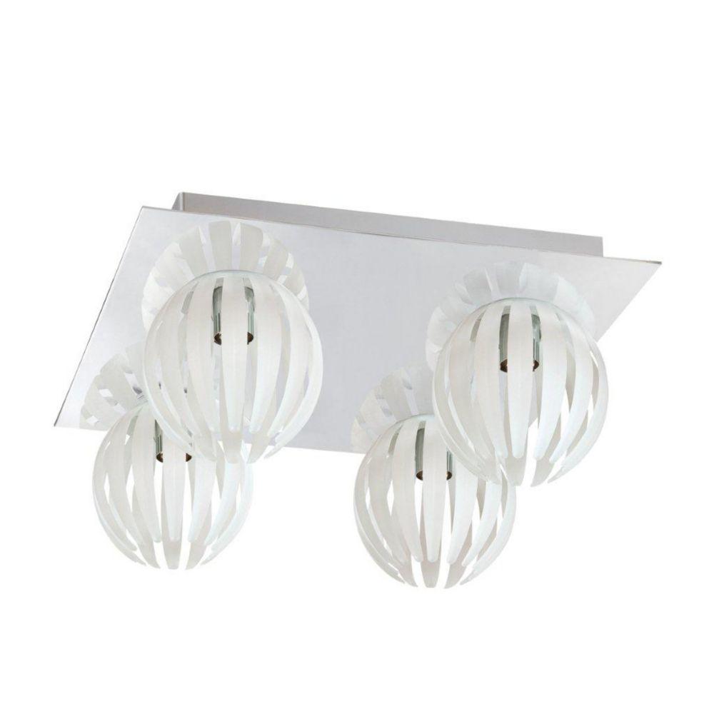 Cosmo Collection 4 Light Chrome & White Flushmount