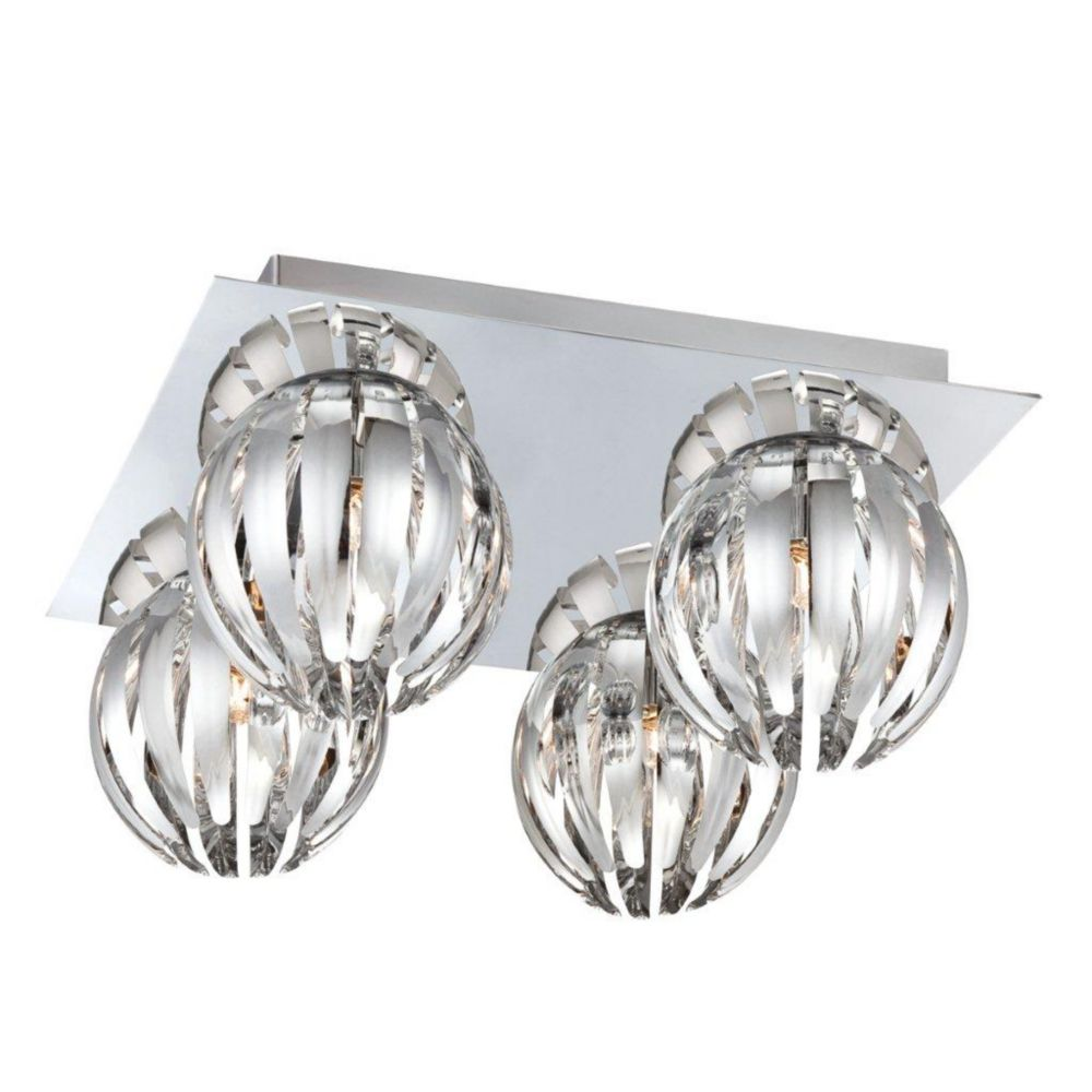 Eurofase cosmo collection 4 light chrome flushmount the home depot canada Home decorators collection 4 light chrome flush mount