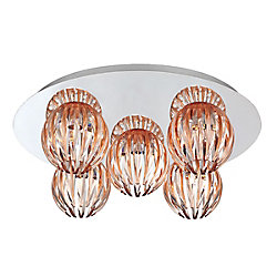 Cosmo Collection 5 Light Chrome & Amber Flushmount