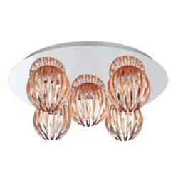 Eurofase Cosmo Collection 5 Light Chrome & Amber Flushmount