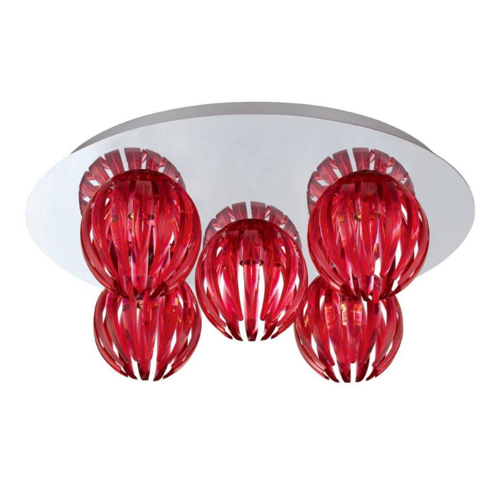 Cosmo Collection 5 Light Chrome & Red Flushmount